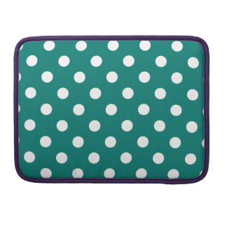 Polka Dots - White on Pine Green Sleeves For MacBook Pro