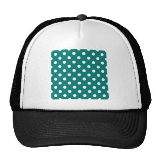 Polka Dots - White on Pine Green Trucker Hat