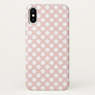 Polka Dots White on Pink iPhone X Case