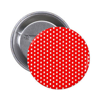 Polka dots white on red pinback buttons