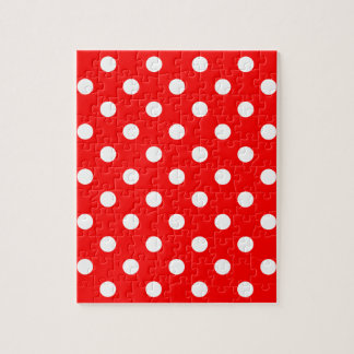 Polka Dots - White on Red Jigsaw Puzzle