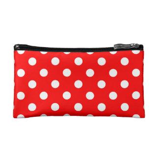 Polka Dots - White on Red Makeup Bag