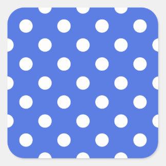 Polka Dots - White on Royal Blue Square Sticker