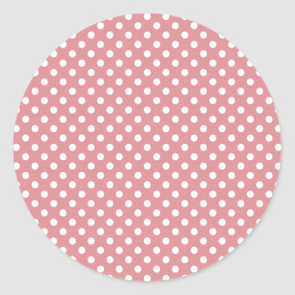 Polka Dots - White on Ruddy Pink Classic Round Sticker