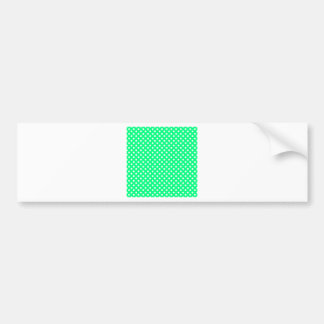 Polka Dots - White on Spring Green Bumper Stickers