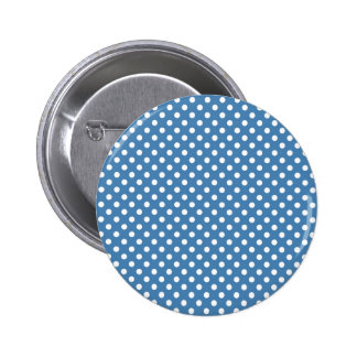 Polka Dots - White on Steel Blue Buttons