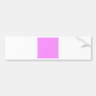 Polka Dots - White on Ultra Pink Bumper Stickers