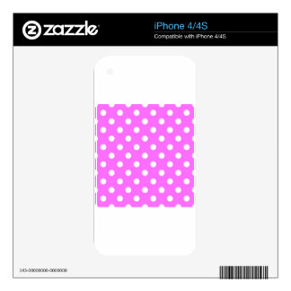 Polka Dots - White on Ultra Pink Decals For iPhone 4S