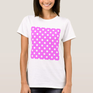 Polka Dots - White on Ultra Pink T-Shirt