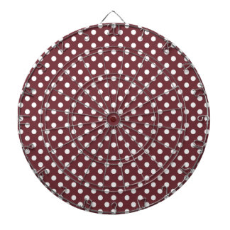 Polka Dots - White on Wine Dartboard With Darts