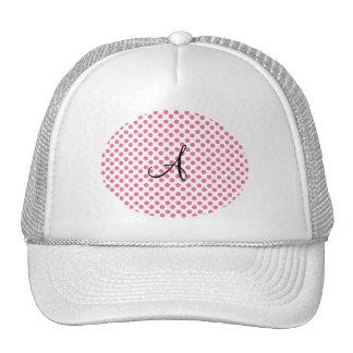 Polka dots white pink monogram trucker hat