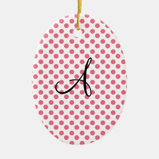 Polka dots white pink monogram Double-Sided oval ceramic christmas ornament
