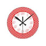 Polka Dots- White & Red Clock