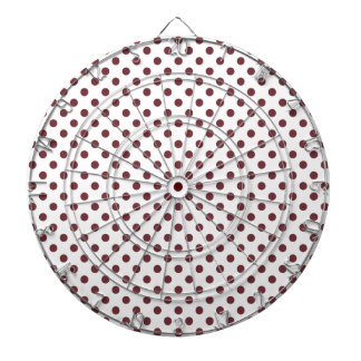 Polka Dots - Wine on White Dartboard With Darts