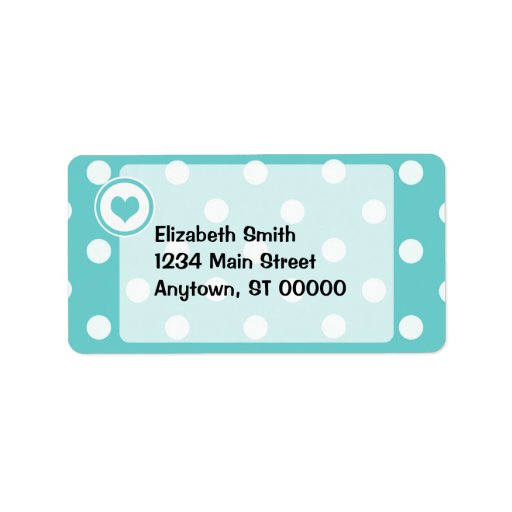 Polka Dots with a Heart V3 Personalized Address Label