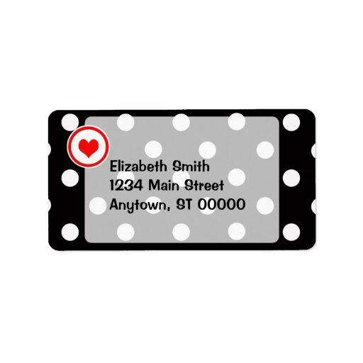 Polka Dots with a Heart V6 Labels