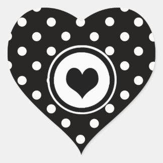Polka Dots with Black Heart Heart Sticker