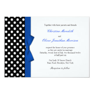 Polka Dots With Blue Bow Wedding Invitation