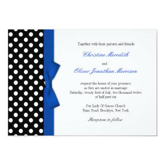 Polka Dots With Blue Bow Wedding Invitation