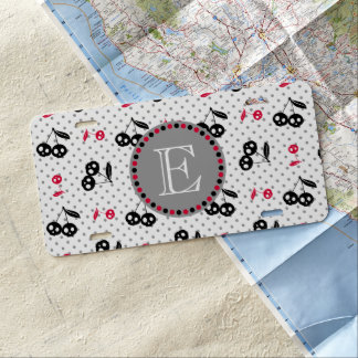 Polka Dots with Cherry Skulls Monogram License Plate