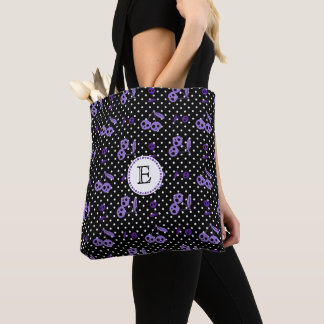 Polka Dots with Cherry Skulls Monogram Tote Bag