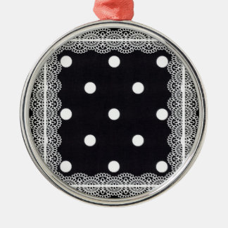Polka Dots with Lace Round Metal Christmas Ornament