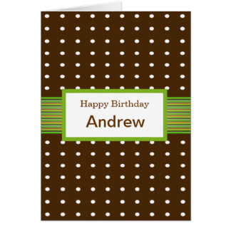 Polka Dots with Lime & Chocolate Birthday Card