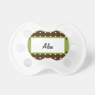 Polka Dots with Lime & Chocolate Monogram Pacifier