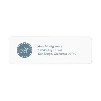 Polka Dots with Monogram label -blue