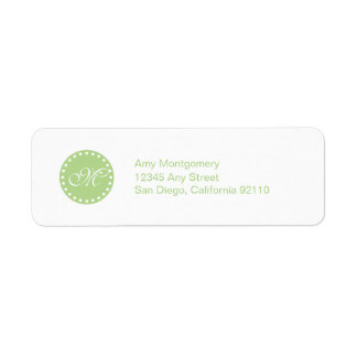 Polka Dots with Monogram label -green