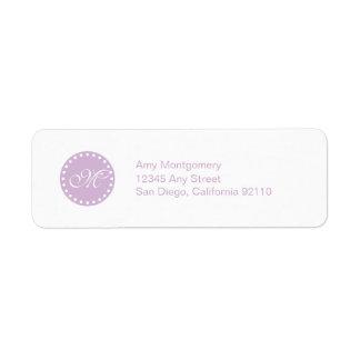 Polka Dots with Monogram label -lavender Return Address Label
