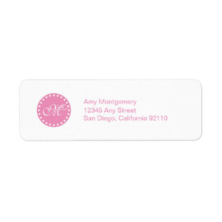 Polka Dots with Monogram label -pink
