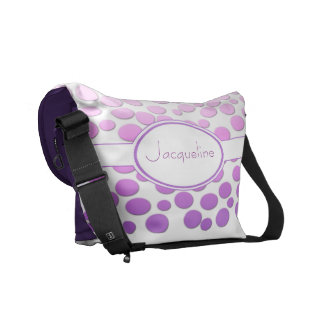 Polka Dots with Monogram~ Pink to purple polka dot Courier Bags