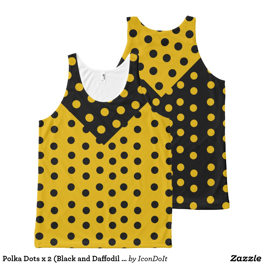 Polka Dots x 2 (Black and Daffodil Yellow) All-Over-Print Tank Top