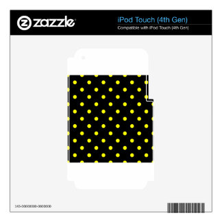 Polka Dots - Yellow on Black iPod Touch 4G Skin