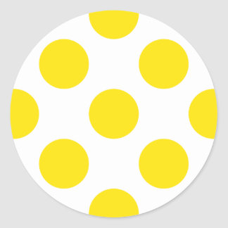 Polka Dots Yellow Round Sticker