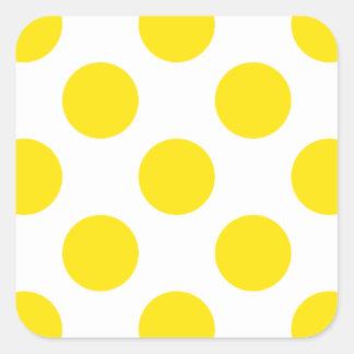 Polka Dots Yellow Square Sticker