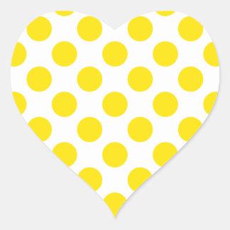 Polka Dots Yellow Heart Stickers