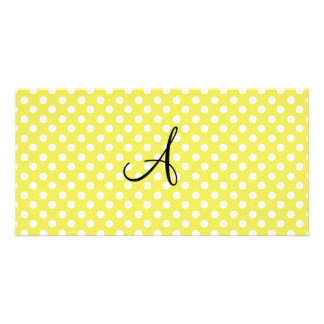 Polka dots yellow white monogram custom photo card