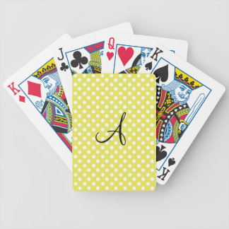 Polka dots yellow white monogram card decks