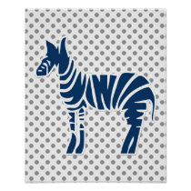 polka dots zebra blue gray baby boy nursery decor poster