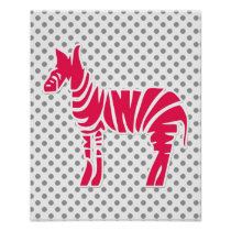 polka dots zebra pink gray baby girl nursery decor poster