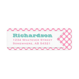 Polka Dotted Banner Big Name Pink Aqua Label