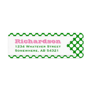 Polka Dotted Banner Big Name Pink Green Label