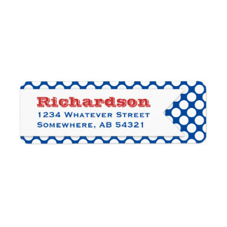 Polka Dotted Banner Big Name Red White Blue Label