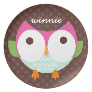 Polka Dotty Owl Melamine Plate