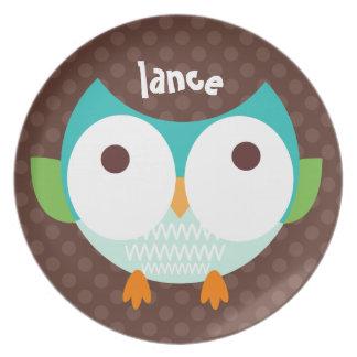 Polka Dotty Owl Too Melamine Plate