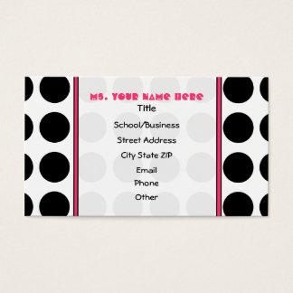 Polka Dotty / Pink Teacher Fashion Business Card