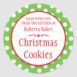 Polka green white cookie swap baking gift stickers