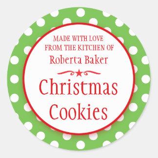 Polka green white cookie swap baking gift stickers
